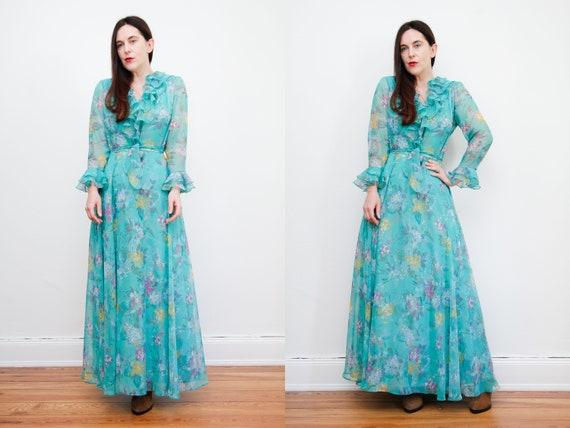 Vintage Prairie Floral Frilly Peasant Maxi Dress