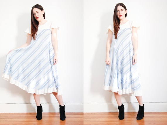 Vintage Indian Cotton Stripe Dress Boho Dress Hipp