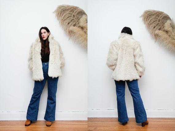 Vintage Fur Sheepskin Afghan Real Fur Mongolian Pe