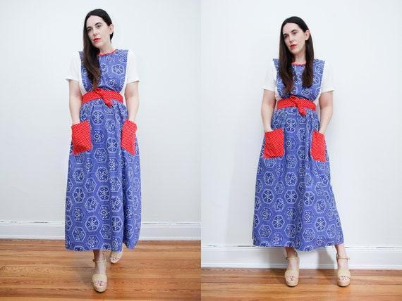 Vintage Prairie Cotton Floral Pinafore Maxi Dress