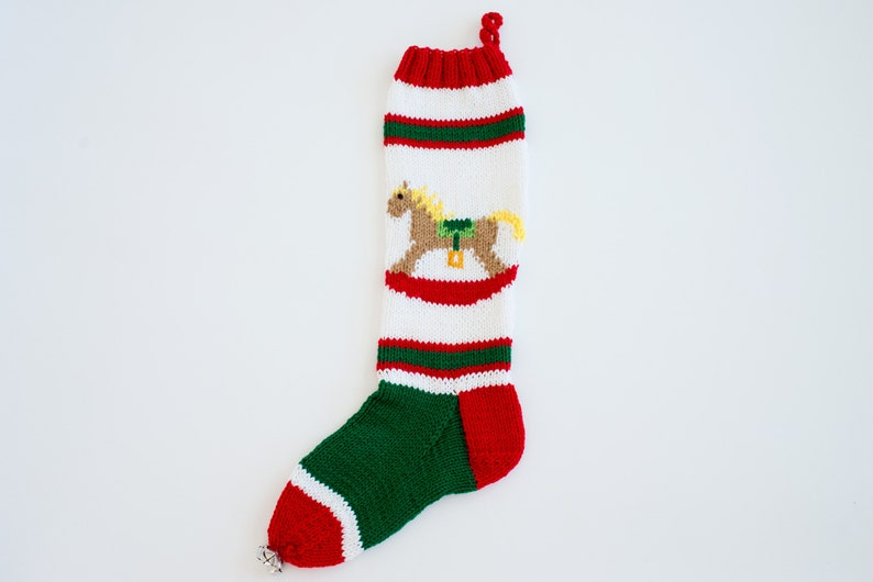 Knit Christmas Stocking Personalize Rocking Horse