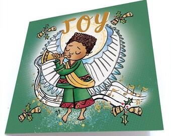 Angel of Joy, Christmas Card, Christmas Angel Card, Black Boy Joy, Holiday Greeting Card, Black Christmas Card, Black Angel, Xmas Card