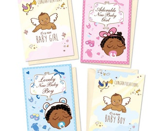 Set of 4 New Baby Cards, African American Baby, Congratulations, Baby Girl, Baby Boy, Announcement Card, Baby Shower, Asian Baby, Black Baby