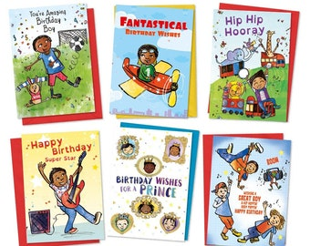 Bundle of 6 Kids Birthday Cards, Childrens Birthday Cards, African American Greeting Card, Black Greeting Card, Black Prince, Black Boy