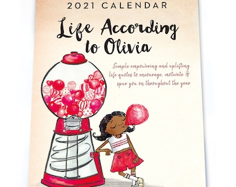 Life According to Olivia, Uplifting 2021 Calendar, Motivation Calendar, 2021 Wall Calendar, Afro, Wall Planner, Easter Gift, Black Owned