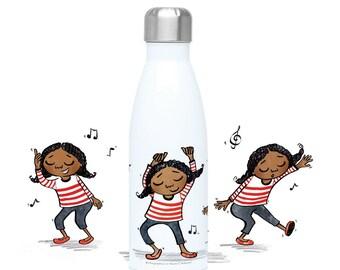 Olivia Dance 500ml Insulated Water Bottle, Drinking Bottle, Flask Bottle, Reusable Bottle, Black Girl Magic