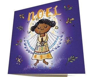 Angel of Noel Christmas Card, Christmas Angel, Illustrated Card, Holiday Cards, Black Christmas Card, Black Christmas Angel, Xmas Card