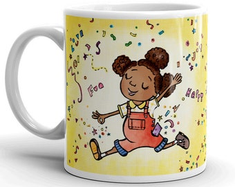 Kindness 11oz Mug, Black Girl Magic, Afro Puffs, Coffee Cup, Cup, African American Girl, Black Princess, Black Owned UK, Nyha Cards, Kids