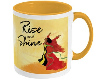 Rise and Shine Mug 11oz - Born to Fly, Black Woman, Gift for Mum, Cup, Black Women, Black Mom, Black Pride, Black Owned, Nyha Cards, Sunrise
