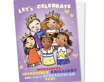 Let's Celebrate, Happy Birthday Best Friend, Friend Birthday Card, Black Greeting Card, Multicultral Birthday Card for Kids, Black Princess