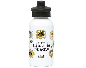 400ml Water Bottle, You Are a Blessing to The World, Drinking Bottle, Flask Bottle, Reusable Bottle, Multicultural Kids Gifts