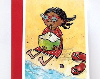 Olivia's First Holiday, Think of You Card, Black Girl Cards, Caribbean, African American Art, Black Kids, Nyha Cards, Black Greeting Card