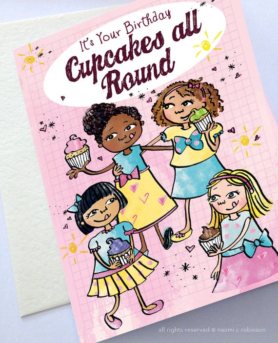 Cupcakes Happy Birthday Card Multicultural Cards Cute Etsy