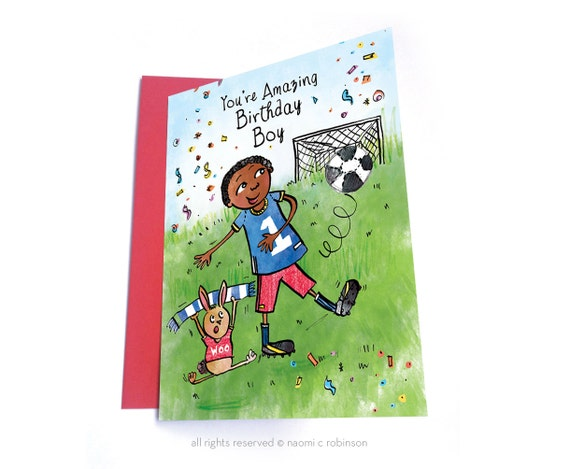 Football Birthday Card Multicultural Cards African American Etsy