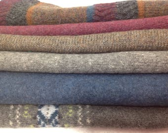 12 Upcycled Felted Sweater Pieces For Making Mittens - 2 Pair Per Kit