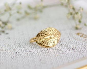 Gold Leaf Ring, Bridesmaid Jewelry, Grecian Jewelry, Autumn Wedding, Bridal Ring, Autumn Bridal Jewelry, Greek Goddess Jewelry, Gift for Her