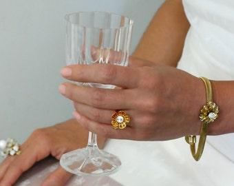 Mother Gift For Women, Gold Flower Bracelet, Gold Flowers Bracelet With Sparkling Diamonds Crystals