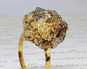 Pyrite Gold Ring, Raw Pyrite Ring, Raw Crystal Ring, Rough Crystal Ring, Raw Stone Ring, Healing Pyrite Ring, Gemstone Ring, Natural Stone