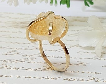 Citrine Ring, Raw Stone Ring, November Birthstone,  Raw Citrine Ring, Boho Chic Ring, Citrine Jewelry, Birthstone Ring, Citrine Gemstone