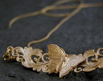 Bib Statement Necklace, Gold Bib Necklaces, Gold Wedding Necklace ,Handmade filigree leaf Butterfly Necklace, Gold bridal Wedding Jewelry