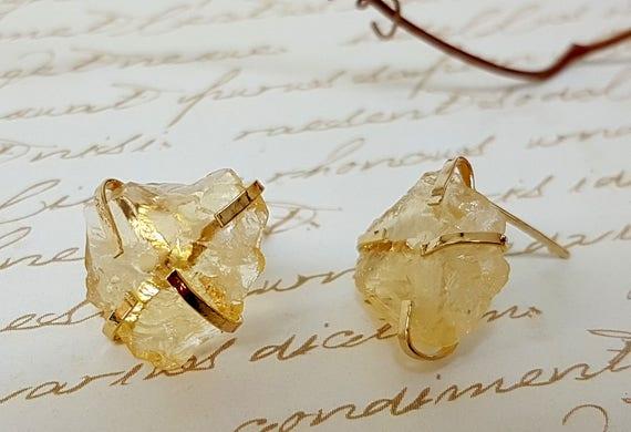 Raw Citrine Earrings Citrine Dangle Earrings Drop Earrings Crystal Earrings Silver Citrine Earrings November Birthstone Earrings