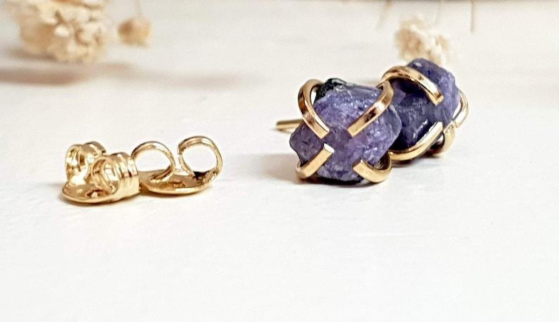 September Birthstone Raw Sapphire Gemstone Stud Earrings Natural Sapphire Jewelry Raw Sapphire Earrings September Birthstone Earrings
