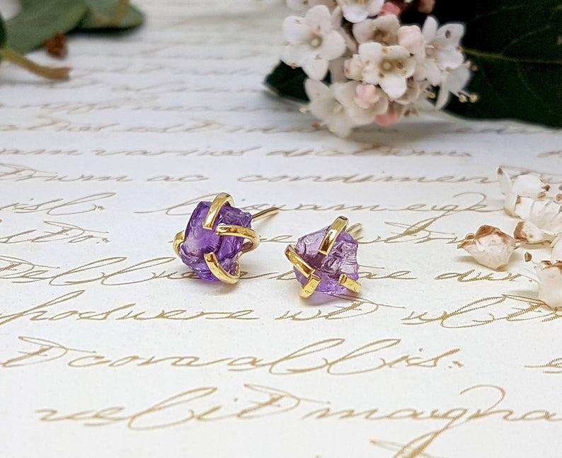 Raw Amethyst Gold Stud Earrings
