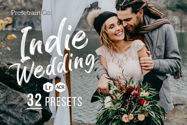 32 Indie Wedding Presets for Lightroom and Photoshop - LR & ACR presets -  portrait presets - wedding photography author presets
