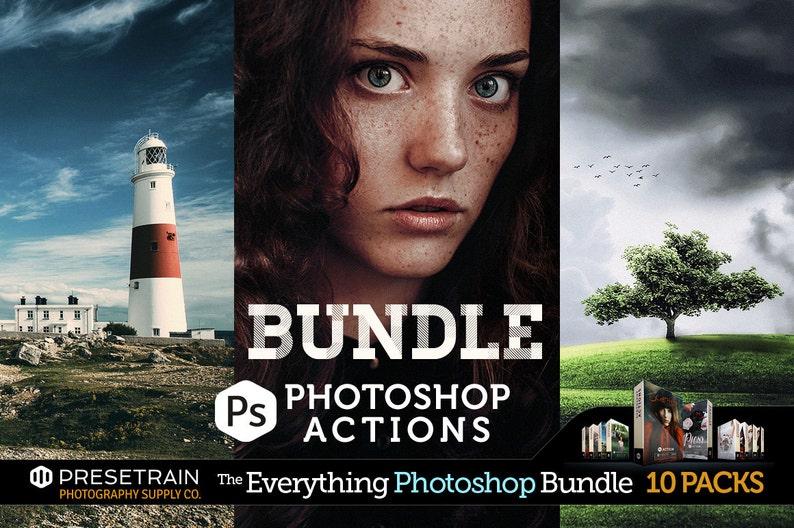 Pro Photoshop Actions Bundle - 10 best-selling action sets by Presetrain -  portrait, landscape and wedding actions  Sale!
