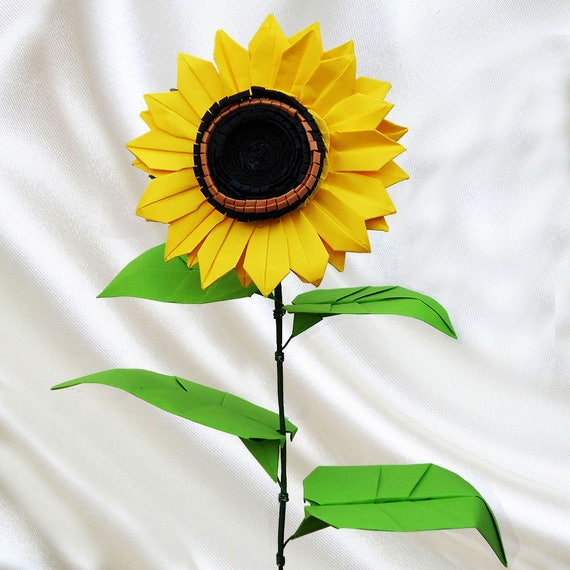 Origami Sunflower Sunflower Paper Flower Unique Flower Etsy
