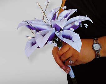 Bouquet de mariage, Bouquet de souvenir, blanc violet Lis Calla, Bouquet de Lis Calla, autre Bouquet, cadeau d'anniversaire, cadeau pour femme