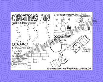 Christmas Fun Colouring Sheet - Digital Download - Colour and Doodle Sheet - Party or Place Setting