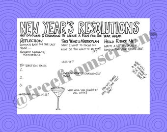 New Year's Resolutions - Colour and Doodle Sheet - For reflection and journaling - Digital Download