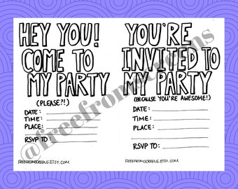 Party Invites - Colour Your Own - Digital Download