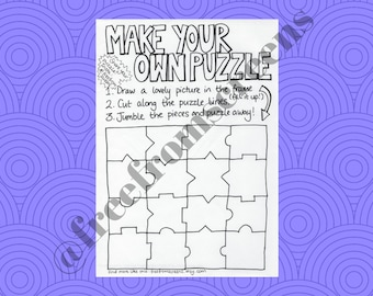 Make Your Own Puzzle - Activity and Colouring Sheet - Digital Download