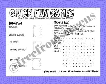 Quick Fun Games - Digital Download - Fun Activity
