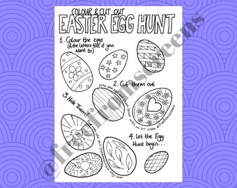 Easter Egg Hunt - Colour and Cut Out - Digital Download - Printable