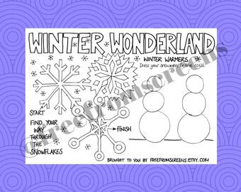 Winter Wonderland - Colouring and Activity Sheet - Digital Download