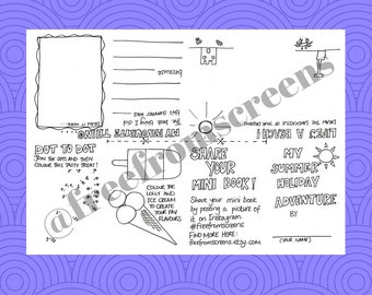 My Summer Holiday Adventure - Colouring and Doodle Mini Book / Activity Sheet