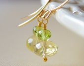 Lemon Quartz Drop Earrings, Peridot Gemstone, Lime Green Yellow, AAA Stone, Sterling Silver or Gold Jewelry, Made to Order, Free Shipping