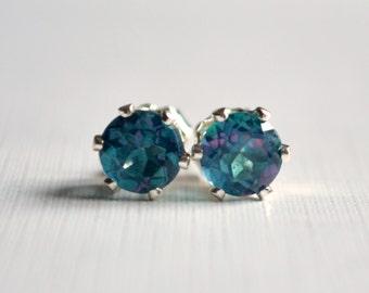 Rainbow Topaz Stud Earrings, Sterling Silver Ear Posts, Blue Gemstone Jewelry, 6mm, Simple, Free Shipping