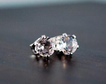 White Topaz Stud Earrings, Gemstone Jewelry, Sterling Silver Earings, April Birthstone, Free Shipping
