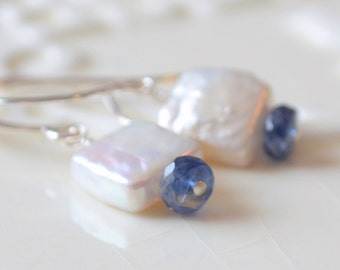 Freshwater Pearl Drop Earrings, Kyanite Gemstone, Monaco Royal Blue, Gold or Sterling Silver, Simple Jewelry