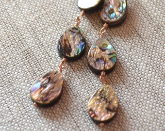Long Abalone Earrings, Rose Gold, Paua Shell Jewelry, Wire Wrapped, Simple Hook Earwires, Beach Jewelry, Summer Fashion, Free Shipping