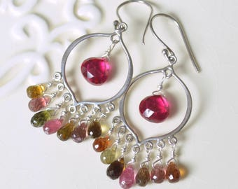 Chandelier Earrings, Sterling Silver, Real Tourmaline, Multicolor, Bright Hot Pink Quartz, Genuine Gemstone Jewelry, Free Shipping