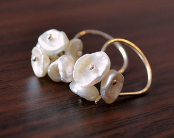 White Keishi Pearl Earrings, Sterling Silver, Cluster, Freshwater Flower Blossom, Bridesmaid Jewelry, Made to Order, Free Shipping