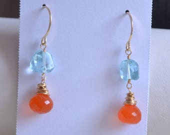 Bright Blue and Orange Earrings, Dangle, Gold Jewelry, Real Swiss Blue Topaz, Carnelian Gemstones, December Birthstone, Free Shipping
