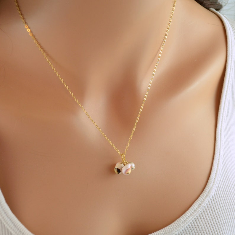 Beach Jewelry Real Seashell Gold Filled or Sterling Silver Bridesmaid Sea Shell Necklace Free Shipping Pale Pink