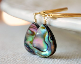 Gold Earrings, Abalone Paua Shell, Purple Peacock Colors, Wire Wrapped, Vermeil Lever Back Earwires, Drop, Summer Jewelry, Free Shipping