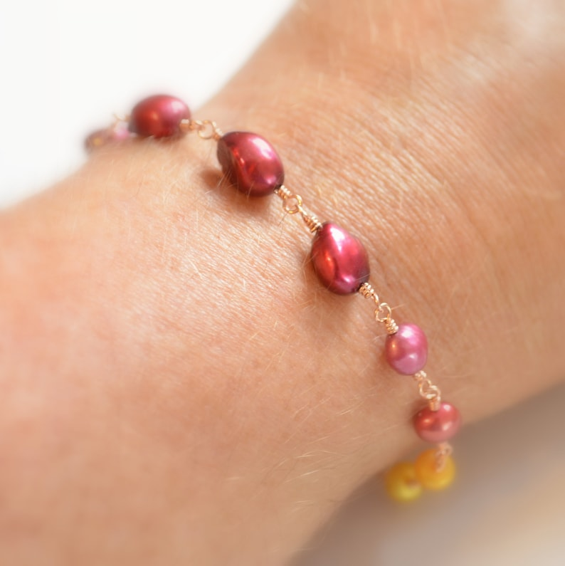 Yellow Pearl Jewelry Wire Wrapped Rose Gold Made to Order Fuchsia Cranberry Red Real Gemstone Pearl and Citrine Bracelet